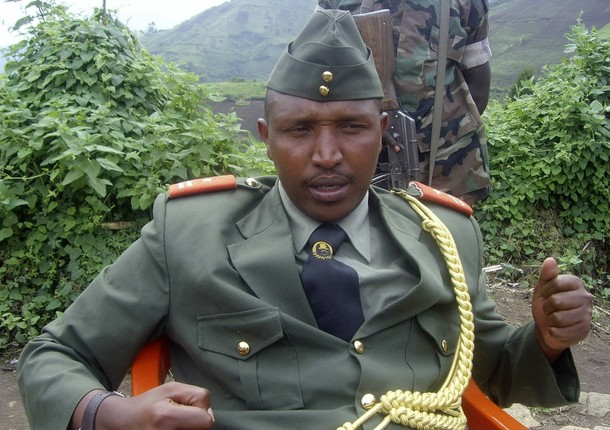 General Bosco Ntaganda addresses a news conference in Kabati, a village located in Congo's eastern North Kivu province