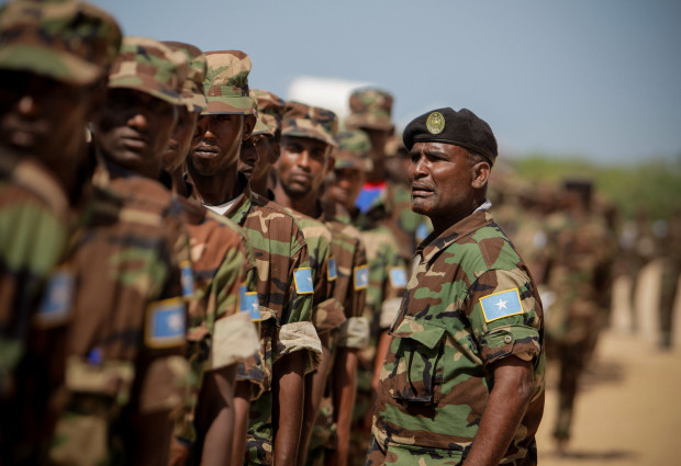 Somali National Army at an AMISOM training facility on the western fringes of the Somali capital Mogadishu.