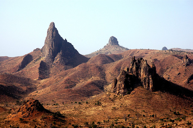In Cameroon's Far North. Behind the mountains lies Nigeria. Photograph by Alvise Forcellini.