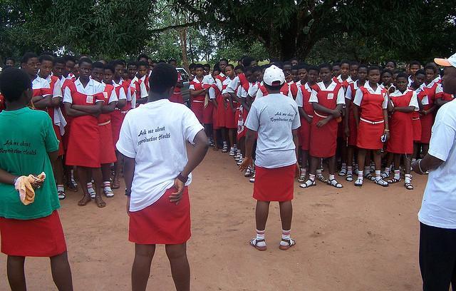 School girls line up at their school in Enugu State, Nigeria. Photograph by Sanctus Okereke.
