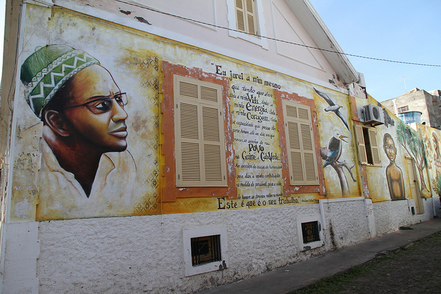 A wall painting honoring the late Amilcar Cabral in Cabo Verde. Photograph by Travel Aficionado.