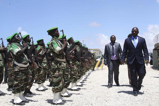 President Pierre Nkurunziza inspecting Burundi troops. Credit: AU-UN-IST/ Ilyas A. Abukar.