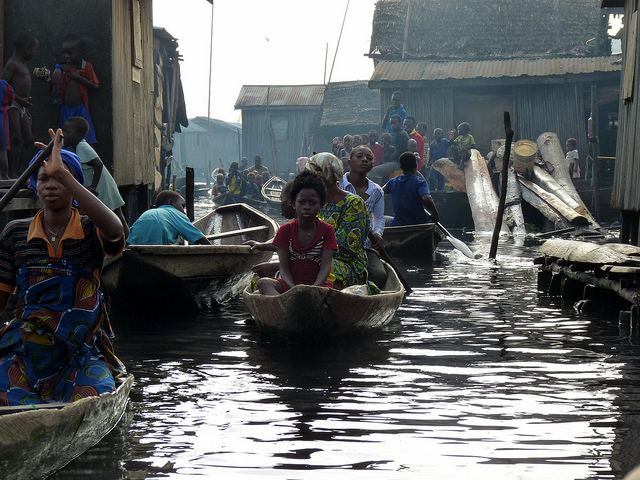 Getting around in Makoko, Lagos. Credit: Rainer Wozny.