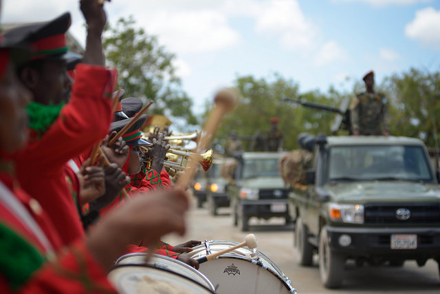 A military band plays during a parade at the Somali Armed Forces Headquarters to celebrate the army's 56th anniversary in Mogadishu. Credit: AMISOM/Tobin Jones