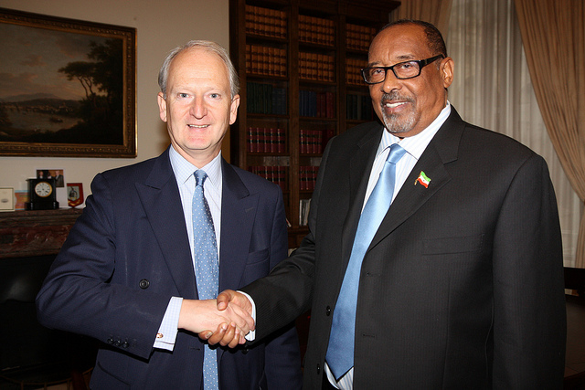 President Silanyo of Somaliland meeting former UK Foreign Office minister Henry Bellingham in 2011. Credit: FCO.