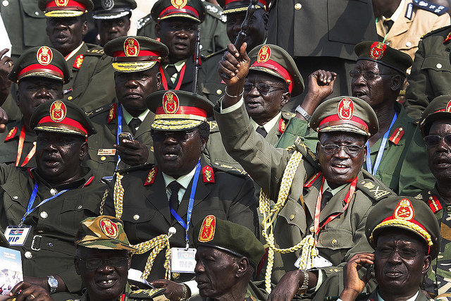 Generals of South Sudan's army celebrate during official independence day ceremonies in 2011. Credit: Steve Evans.