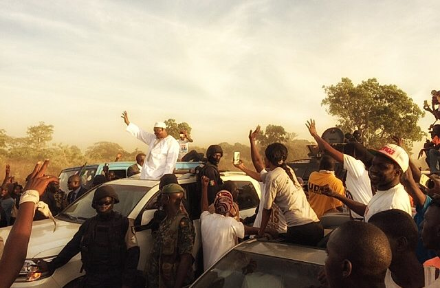 President Adama Barrow greeting supporters. Credit: Katarina Höije