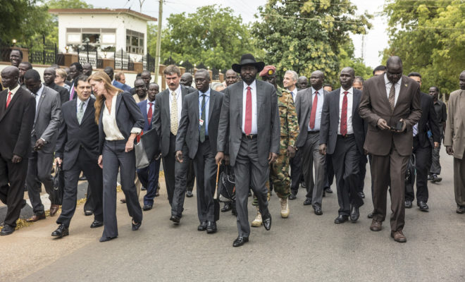 A UN Security Council delegation meets with President Salva Kiir in 2016. Credit: UNMISS/Isaac Billy