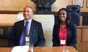 Moïse Katumbi (left) with Zeinab Badawi (right) speaking at an Africa All Party Parliamentary event in the UK. Credit: Sheila Ruiz.