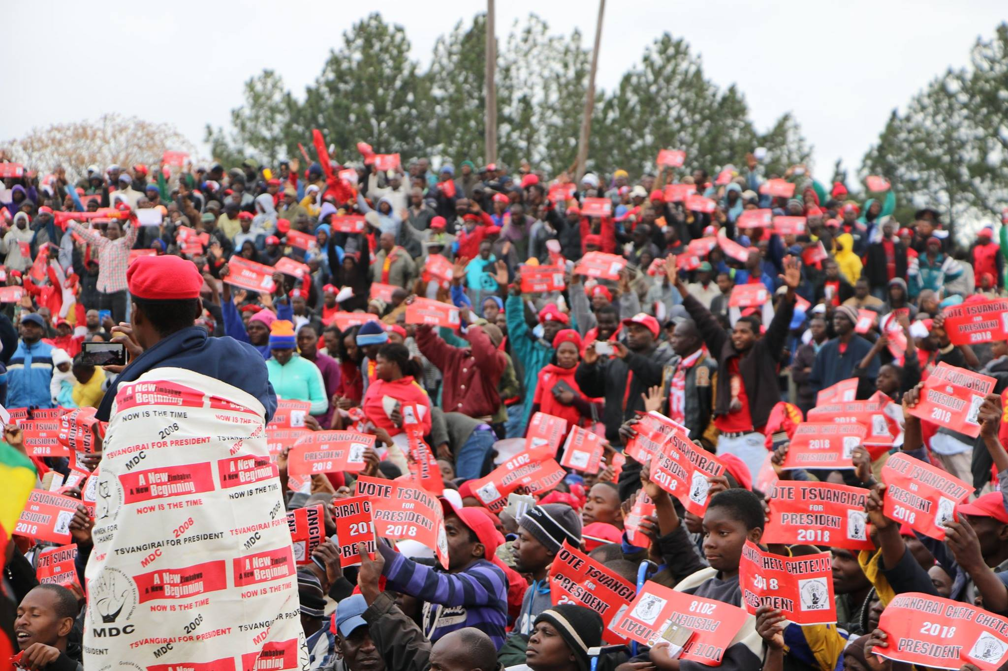 An MDC-T 2018 election rally at Mkoba Stadium, Gweru. Credit: MDC Zimbabwe.