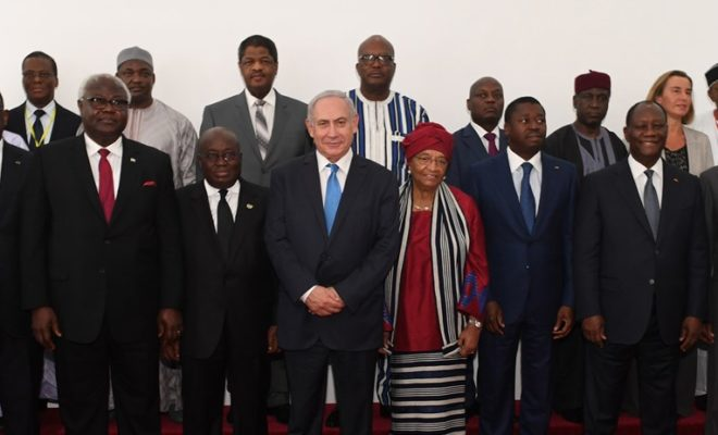 Israel's PM Benjamin Netanyahu with West African heads of state at the ECOWAS summit in June 2017. Credit: Israel Government Press Office.