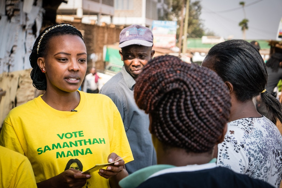 MCA candidate Samantha Maina on the campaign trail. Credit: Peter Doerrie.
