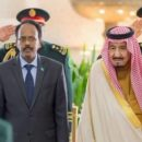 Somalia's President Farmaajo with Saudi Arabia's King Salman bin Abdul Aziz during the former's visit to Riyadh this February.