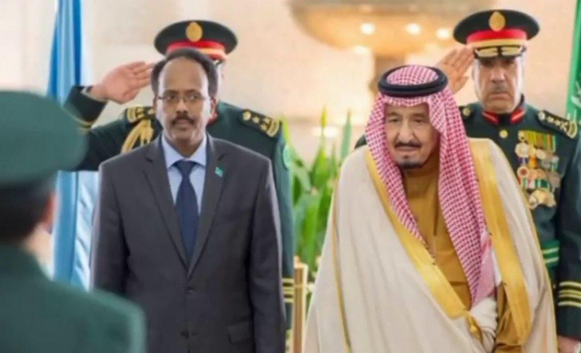 Somalia's President Farmaajo with Saudi Arabia's King Salman bin Abdul Aziz during the former's visit to Riyadh this February.