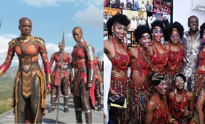 Black Panther (left). Fela Kuti and the Kalakuta Queens (right).