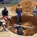 Workers in the Central African Republic digging foundations. Credit: hdptcar.