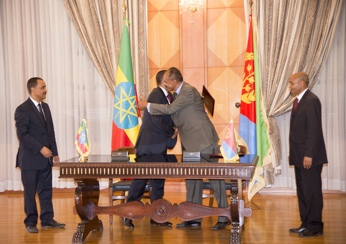 Abiy and Isaias embrace after signing the Joint Declaration of Peace and Friendship.