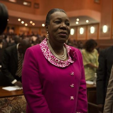 Samba-Panza reacts after she was elected as Central African Republic's interim president at the national assembly in Bangui