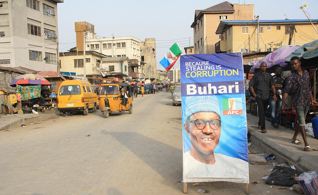 A pro-Buhari poster on a street in Nigeria. Photograph by Clara Sanchiz.