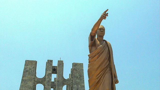 A statue of Ghana's independence leader Kwame Nkrumah in Accra. Photograph by jbdodane.