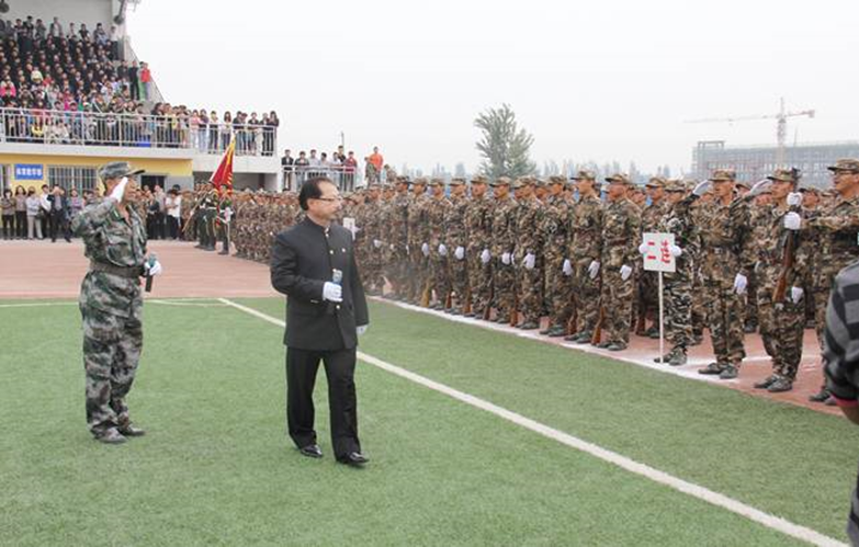 Sam Pa at a Chinese military training event at Yinchuan University.