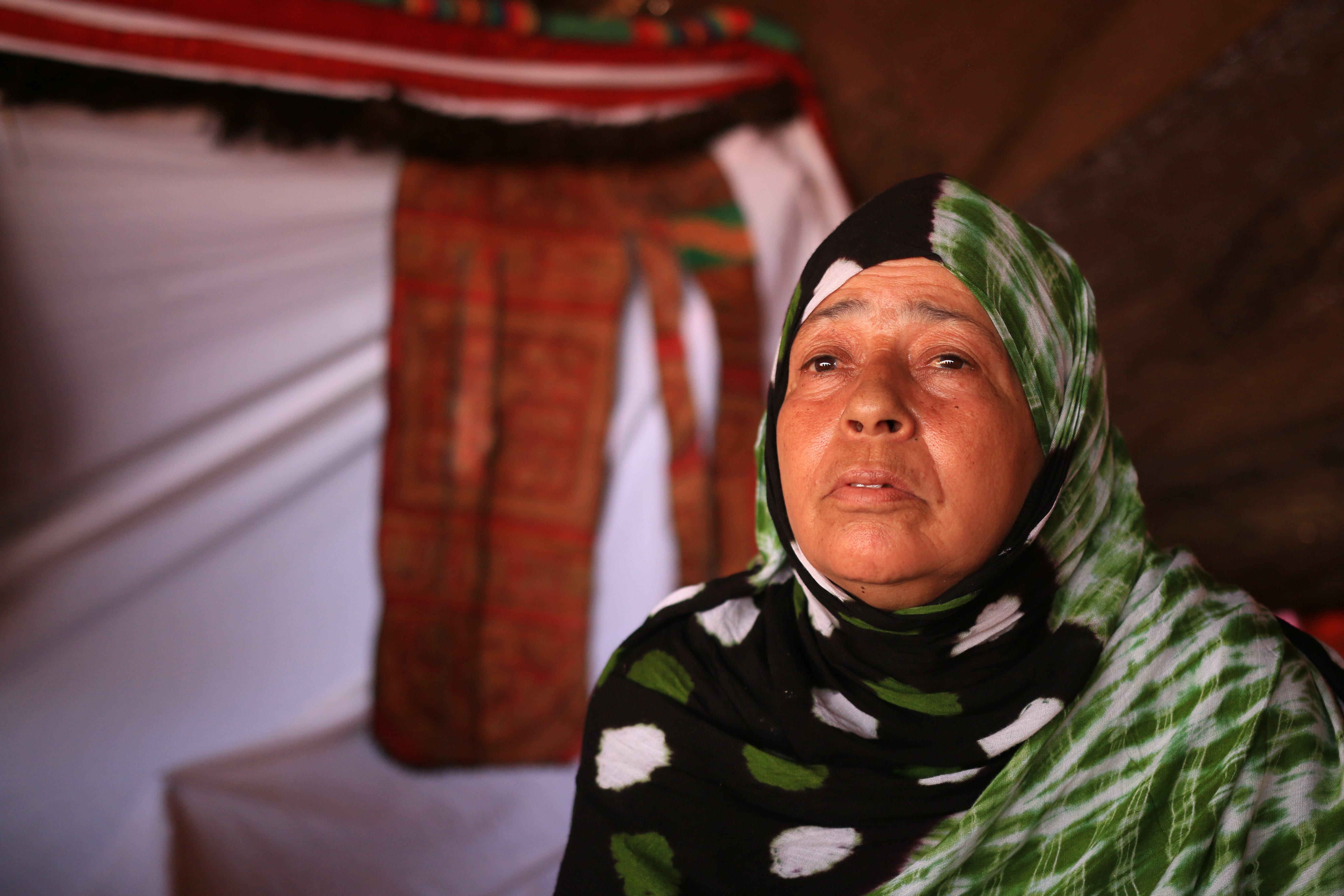 Akhdaja Salak was 22 and pregnant when Morocco first occupied Western Sahara. Photograph by Saharawi Voice/Adam VanNoord .