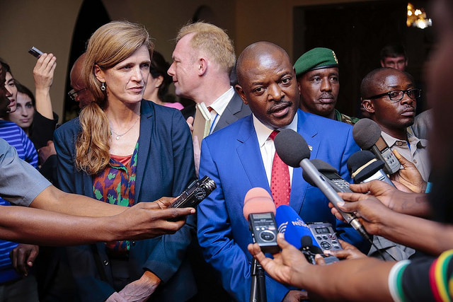 President Pierre Nkurunziza talks to the press following his meeting with a UN Security Council delegation. Credit: MONUSCO/Papy AMANI.