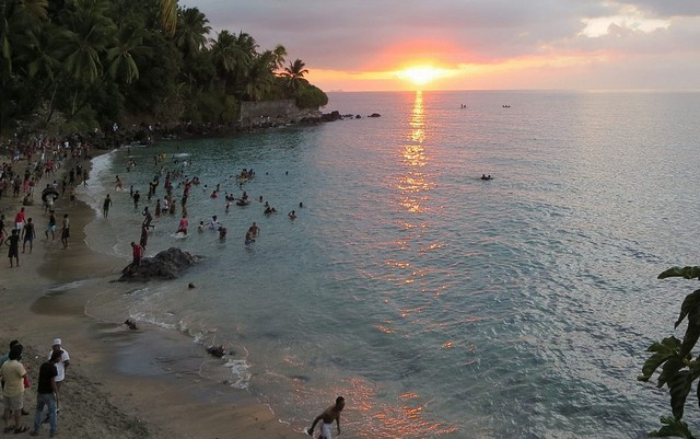 The sun sets over the Indian Ocean island of Anjouan, Union of the Comoros. Credit: David Stanley.