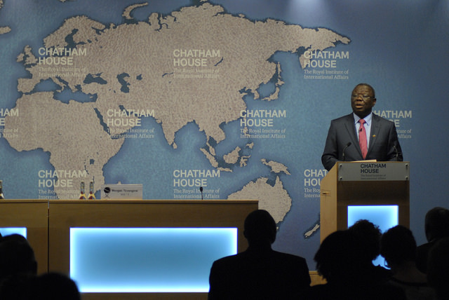 Zimbabwe opposition leader Morgan Tsvangirai talking at Chatham House, UK. Credit: Chatham House.