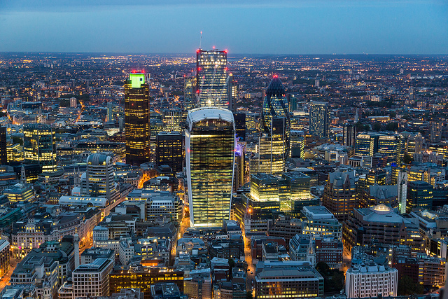The City of London, arguably the heart and headquarters of a network of international tax havens. Credit: Michael Garnett.