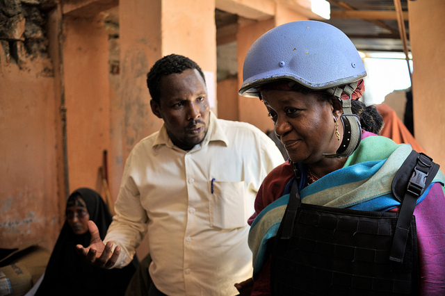 Zainab Bangura, UN Special Representative on Sexual Violence in Conflict, on a visit to Somalia. Credit: UN/Tobin Jones.