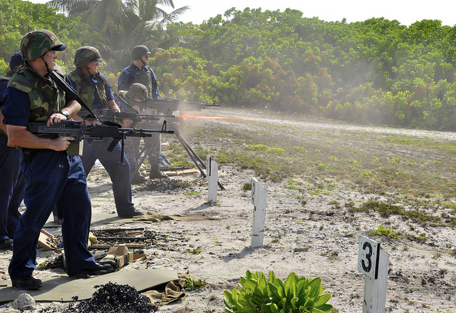 US troops engage in a live-fire training exercise at its base on Diego Garcia, Chagos Islands. Credit: US Navy photo.