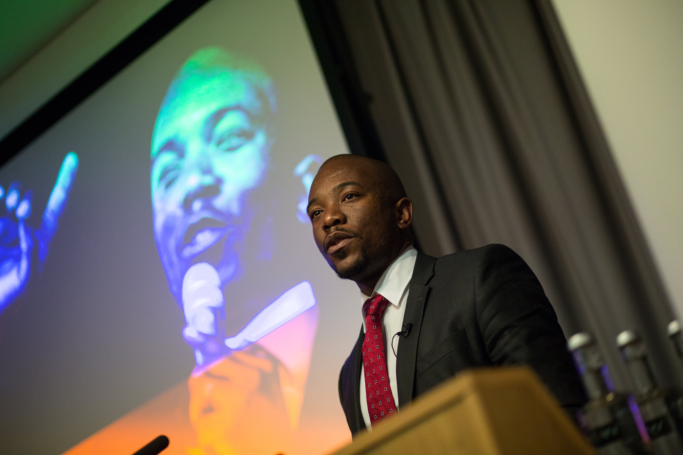 The Democratic Alliance's leader Mmusi Maimane speaking at RAS in London last year. Credit: Joyce Nicholls/RAS.