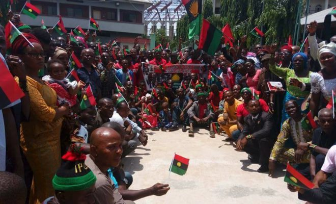 Biafra separatists from the group IPOB gather. Credit: Radio Biafra.
