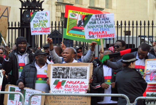 A pro-Biafra protest organised by IPOB in London. Credit: David Holt.