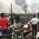 Otodo-Gbame in Lagos being razed.