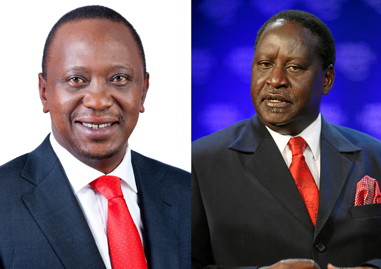 The two front runners, President Uhuru Kenyatta (left) and Raila Odinga (right). Credit: State House of Kenya/World Economic Forum.