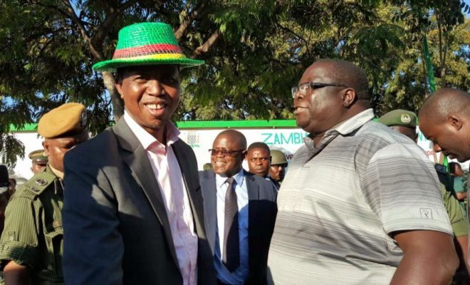 President Edgar Lungu (left) with the expelled Chishimba Kambwili (right).