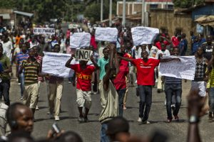 People protest against President Nkurunziza's decision to run for a third term in 2015. Credit: Igor Rugwiza.