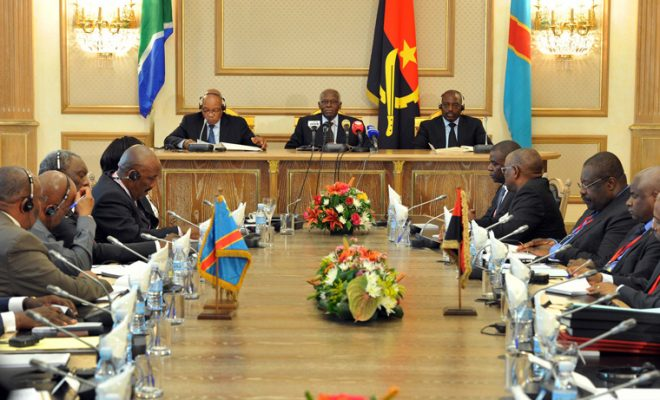 South Africa's Jacob Zuma (left) and Angola's Jose Eduardo Dos Santos (centre) enjoy good relations with DRC's Joseph Kabila (right). Credit: GCIS.