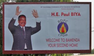 A poster of President Paul Biya in the city of Bamenda, in one of Cameroon's Anglophone regions. Credit: Carsten ten Brink.