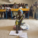 Sala, 6, and her schoolmates study in Niger after being resettled from Nigeria. Credit: UNHCR / H. Caux.