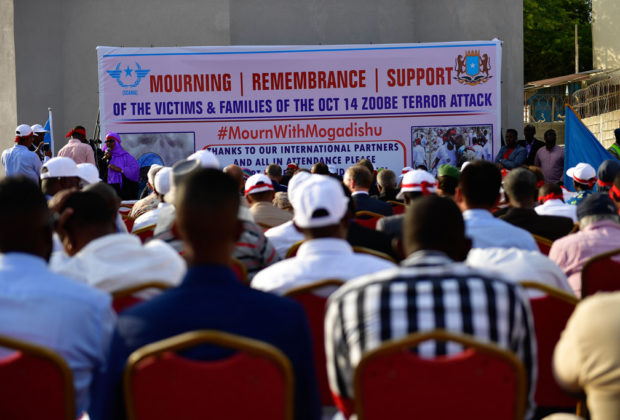 Guests attend a ceremony to remember the victims and families of the October 14 attack in Mogadishu. Credit: AMISOM/Ilyas Ahmed