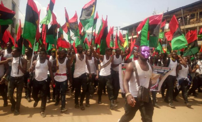 IPOB supporters protest. Credit: Radio Biafra.