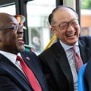 President John Magufuli riding the newly launched bus service in Dar es Salaam. Credit: Sarah Farhat/World Bank