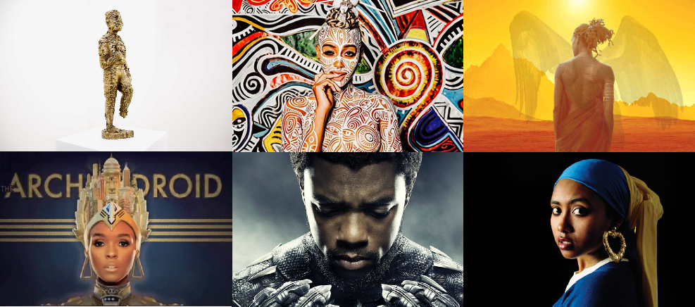 "Clockwise from top left: Sanford Bigger's ""Bam""; a bodypainting work by Laolu Senbanjo; the cover of Nnedi Okorafor's Who Fears Death; Janelle Monae's album The ArchAndroid; poster from Black Panther; Awol Erizku's ""Girl With A Bamboo Earring""."
