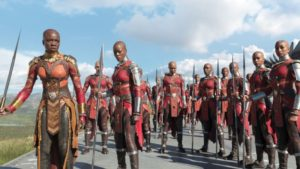 The blockbuster Black Panther depicts several strong female characters.