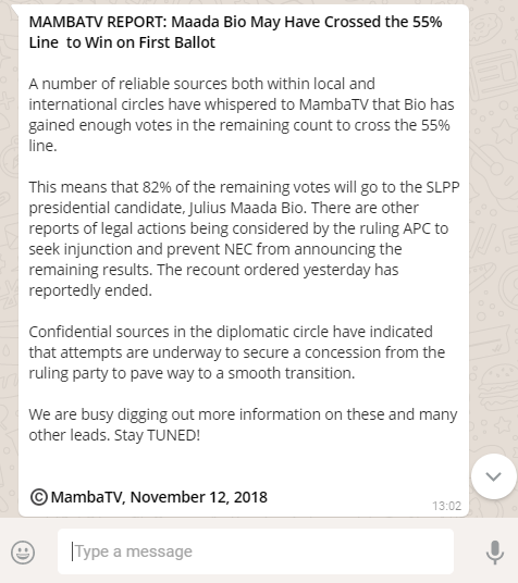 The WhatsApp rumours that infused Sierra Leone's tight election