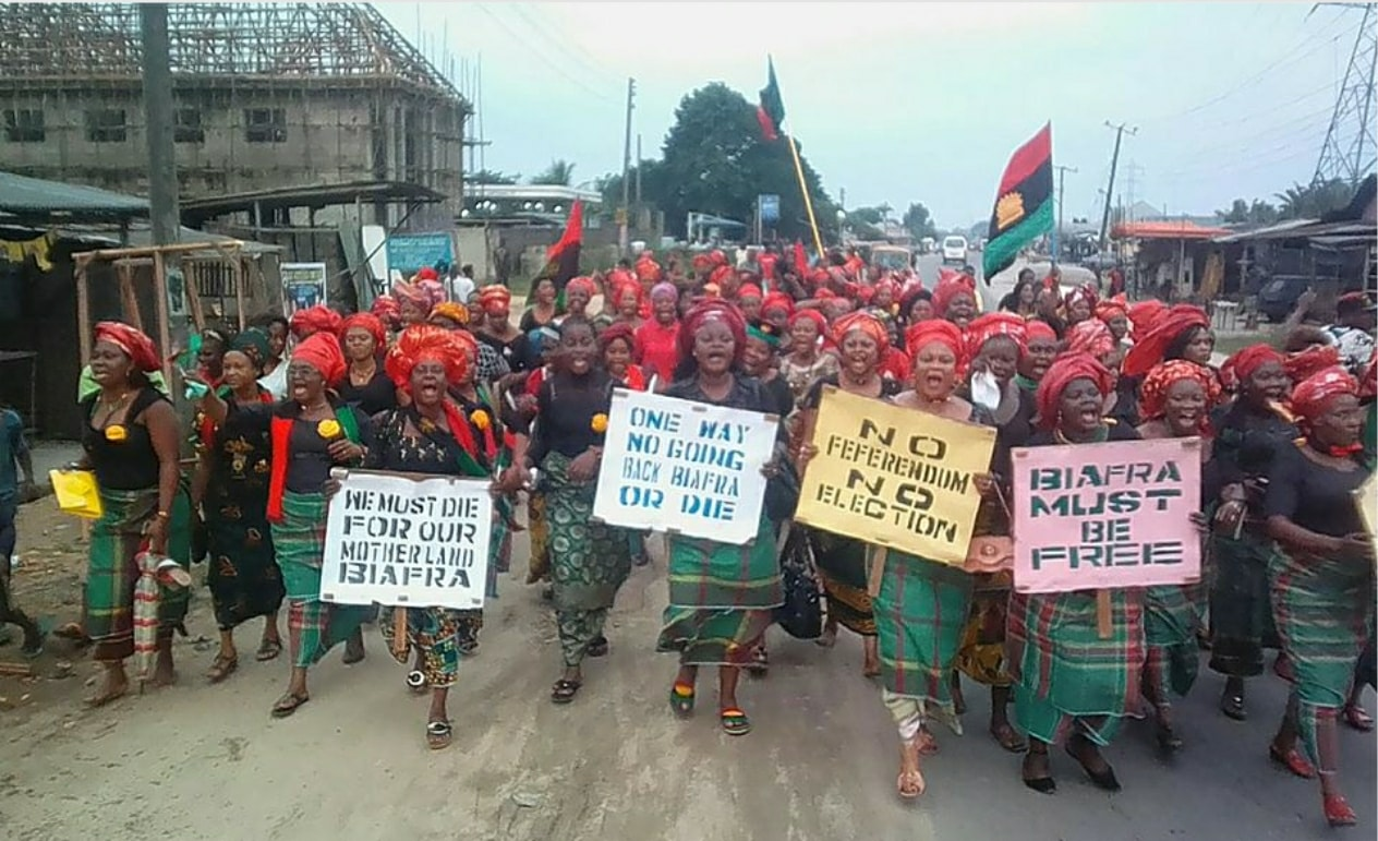 Protesters in 2017 demanding a referendum on independence for Biafra.
