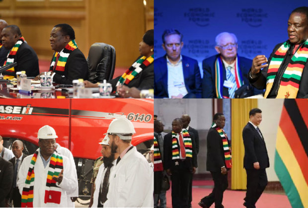 A garment for all occasions: Zimbabwe's President Mnangagwa has been weather his favourite scarf, in fair weather and foul.